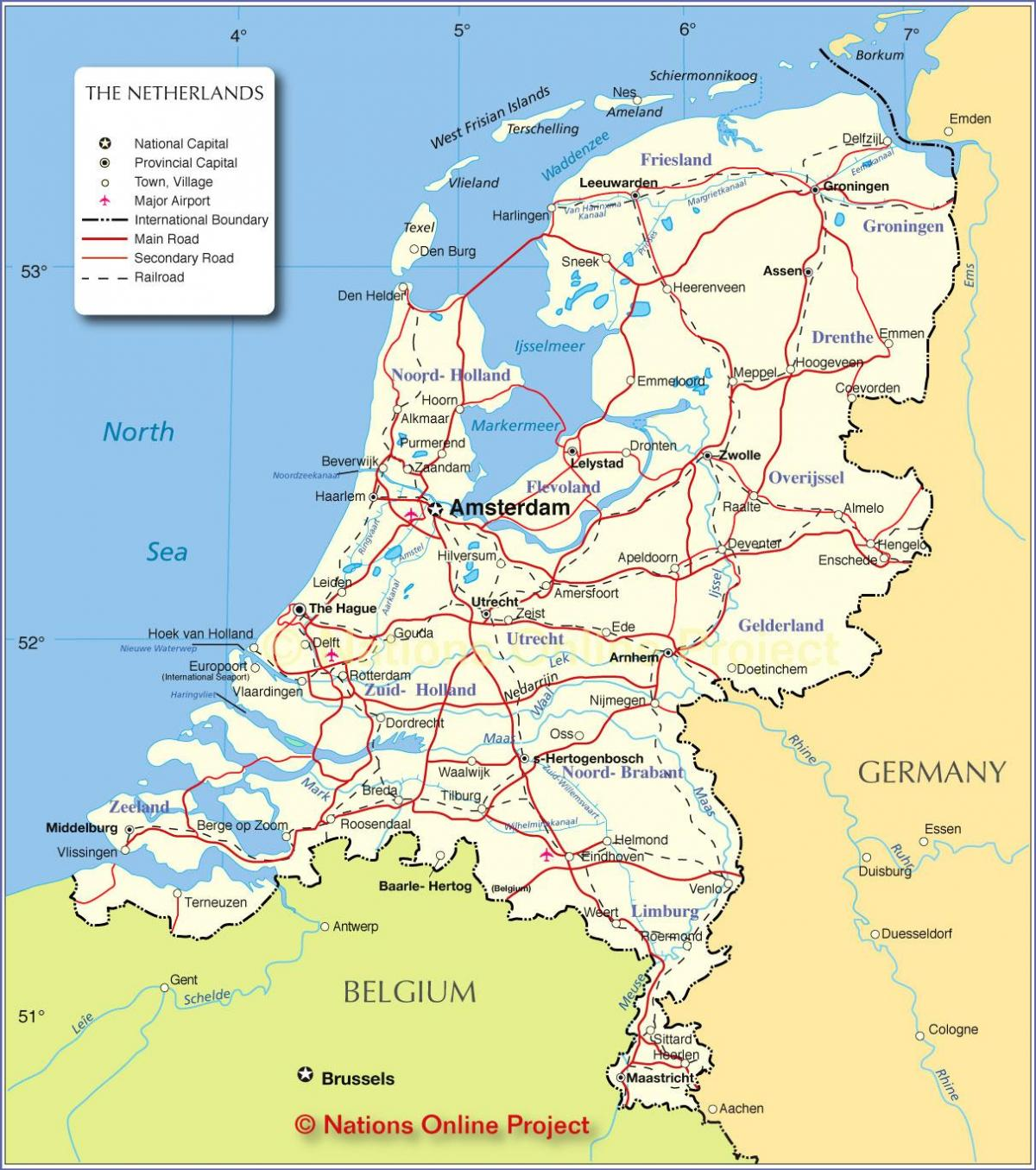 mapa Holland, Holandsko